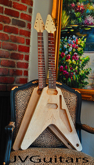 58 Korina Flying V This is a RARE JVG-Luthier built all SOLID KORINA - African Limba wood unfinished custom guitar PREVIEW them WoW!