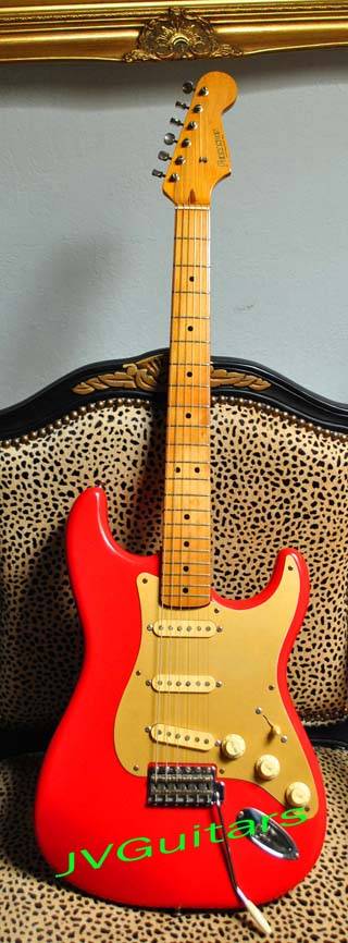 1981 Fernandes 57 Stratocaster Reissue RARE Mark Knopfler model L-Series in Custom Color  Fiesta Red High end Tokai Gakki factory made for Fernendes WoW talk about RARE!....