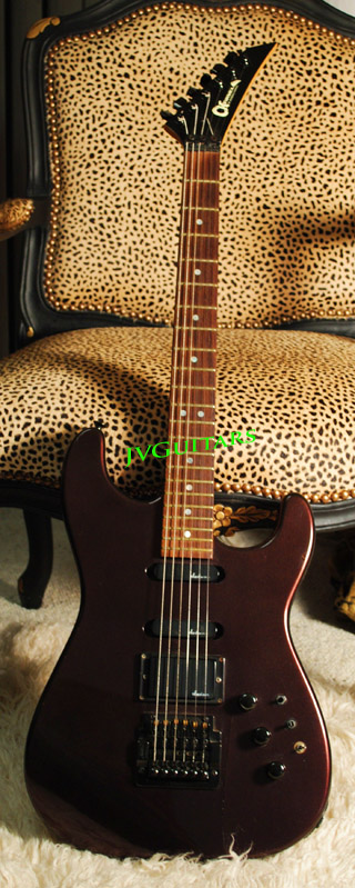 1986 Charvel Jackson Model #4  Black Cherry color  This is a Japanese Crafted example neck plate says Texas but they are only made in Japan!...wow great 80's ROCKER ...