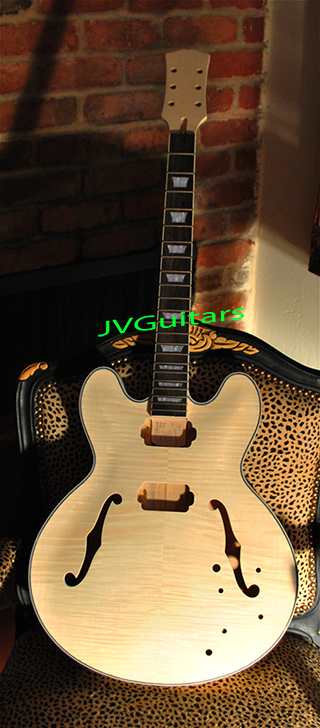 JVG Custom es335 Prototype Flame top BEFORE - finish ...WoW special high quality build to suit hand crafted beauty.... - BEFORE finish... ask