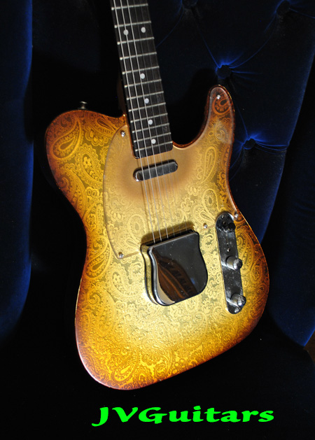 JVG Luthier Built 69 Paisley T Gold Burst Aged 3-D Foil Reflected One of a Kind and available to ship NOW  Just $ 1799.00