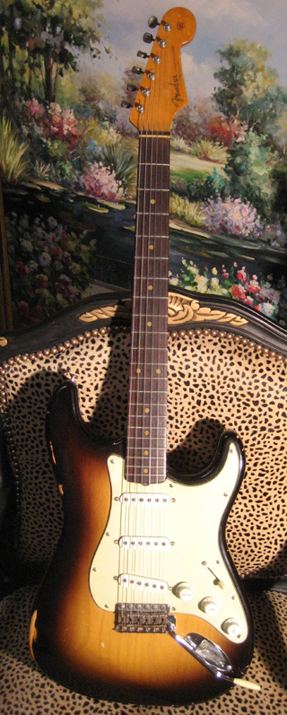 61 Strat JVG Old Wood Vintage Series Brazilian Rosewood + Clay dots aged ... $3,350